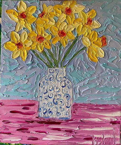 Daffodils in Blue Vase