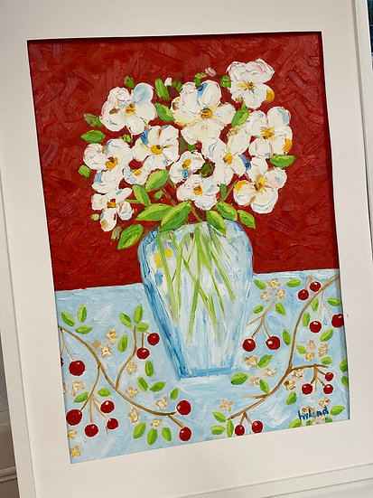 White Flowers Oil Painting