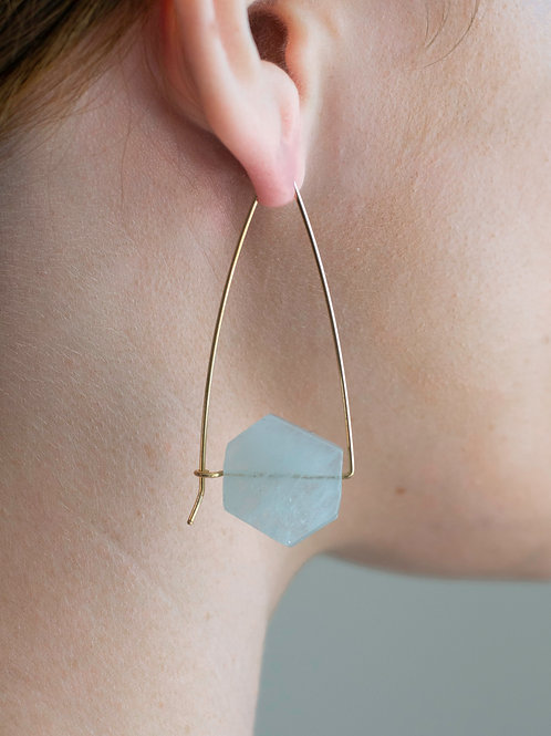 Closed Triangle Stone Hoops