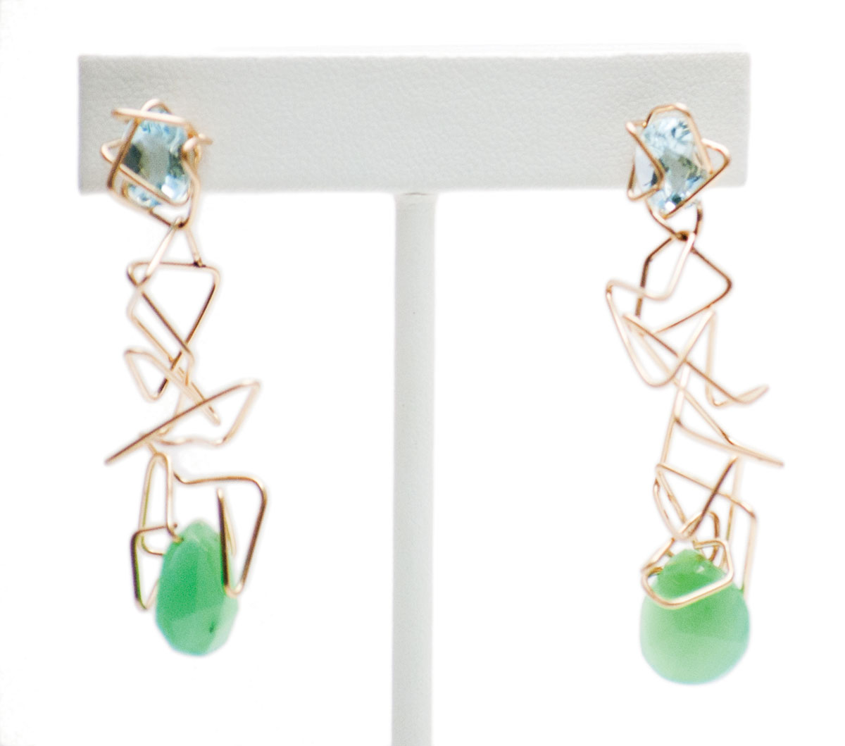 Blue topaz, chrysoprase earrings