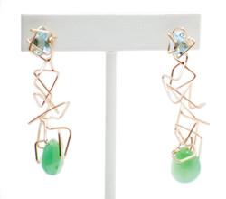 Blue topaz, chrysoprase earrings