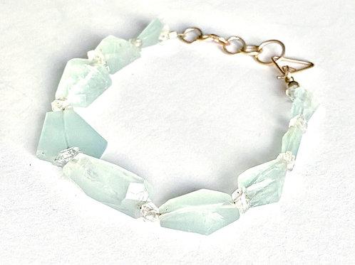 Aquamarine and Herkimer Diamond Bracelet