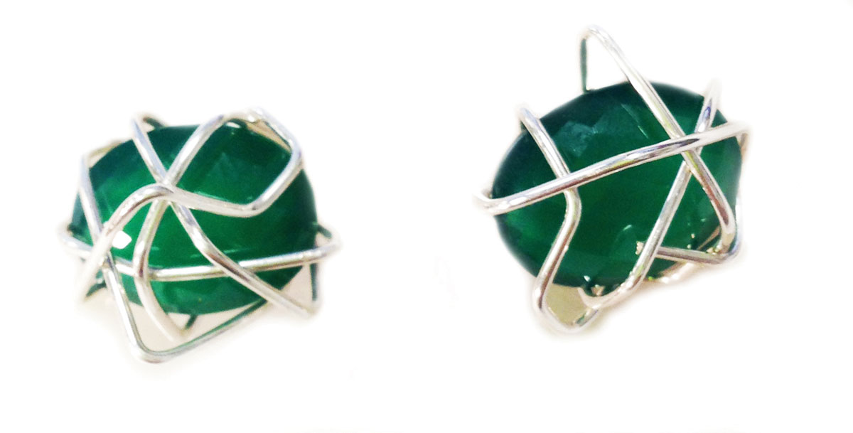 Green onyx studs