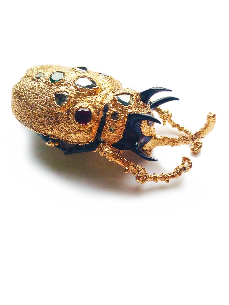Rhino beetle brooch