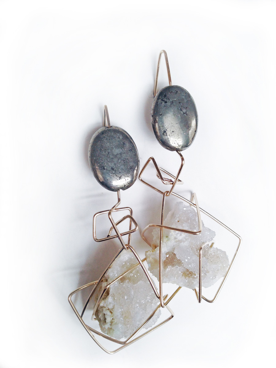 Pyrite and druzy quartz Earrings