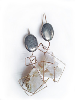 Pyrite and druzy quartz Earrings