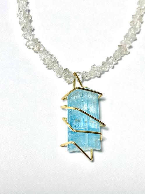 Aquamarine Herkimer Diamond Necklace