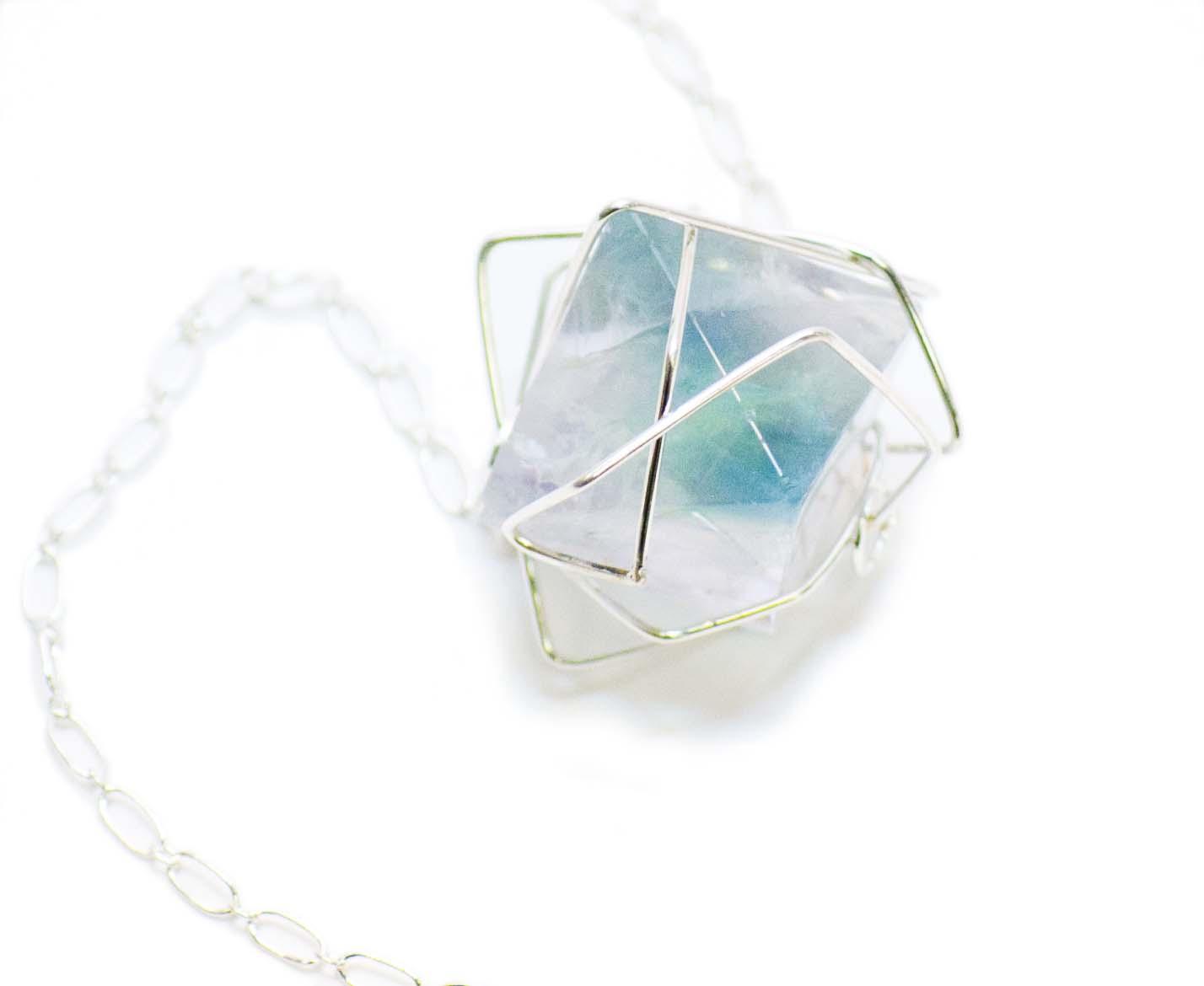 Fluorite octohedron pendent