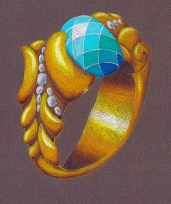 Hand rendered in colored pencil