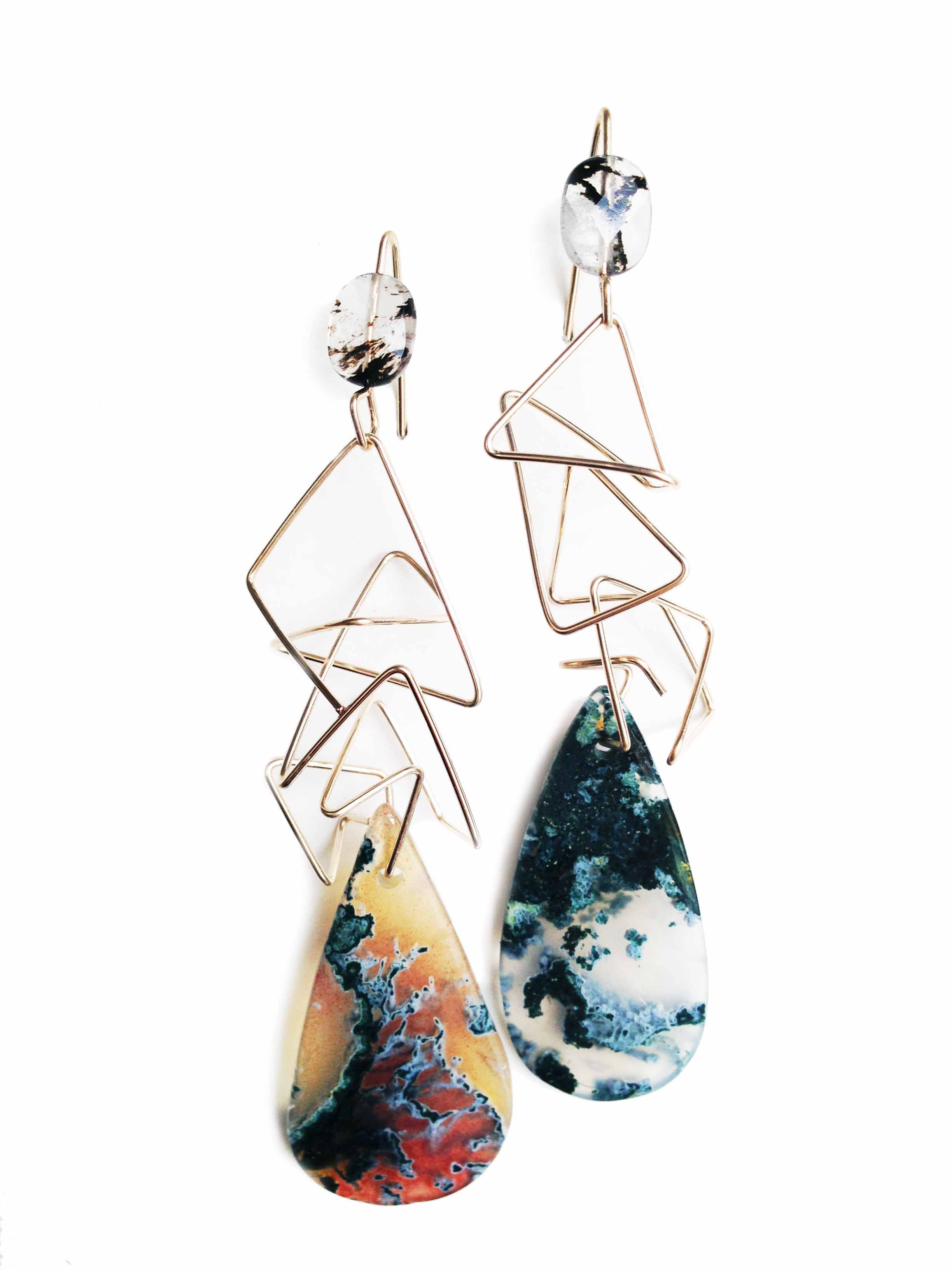 2 stone Geo earrings