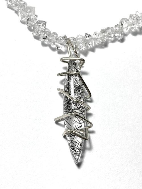 Tourmalinated Quartz and Herkimer Diamond Necklace