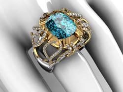 Blue tourmaline and diamond ring