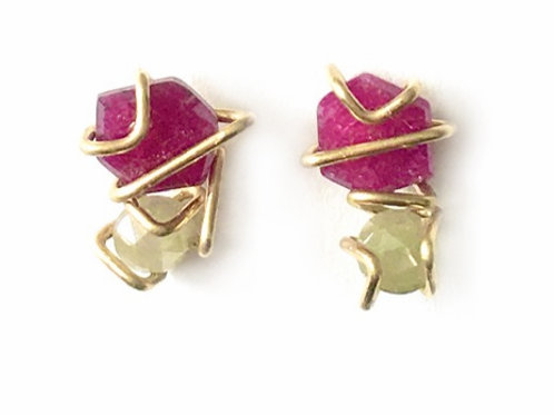 One of a Kind 18k Gold Geo Gem Studs