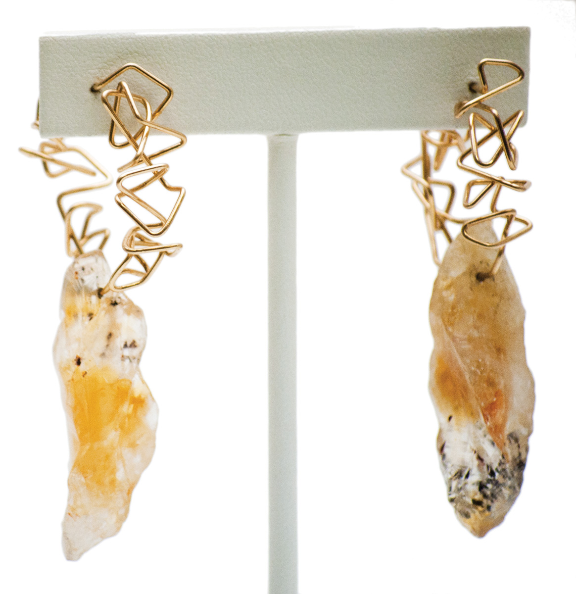 Citrine geo hoop earrings