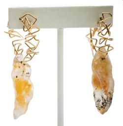 Citrine geo hoop earrings