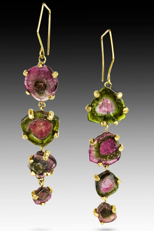 One of a Kind Watermelon Tourmaline Drop Earrings - Wholesale