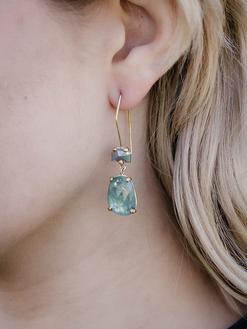 One of a Kind Diamond and Tourmaline Drop Earrings - Wholesale