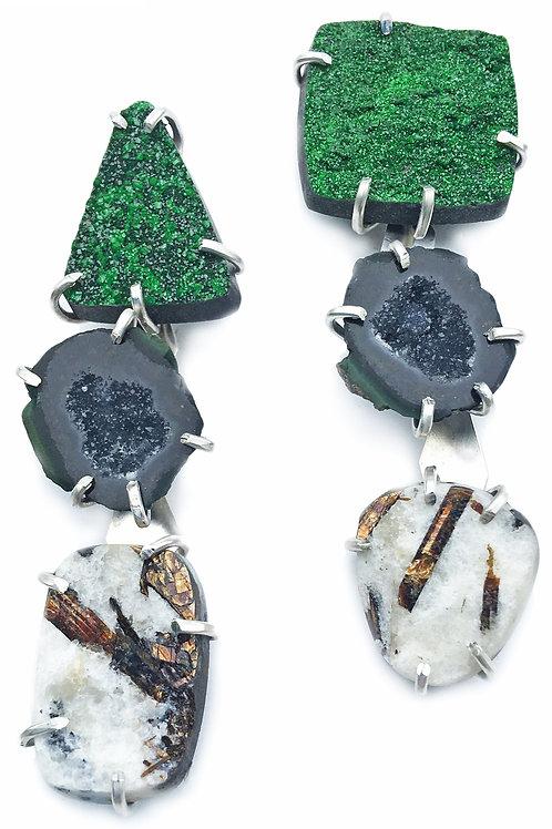 uvarovite, geode, astrophyllite in sterling silver