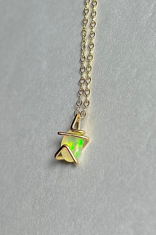Solid Gold Opal Mini Geo Gem Necklace