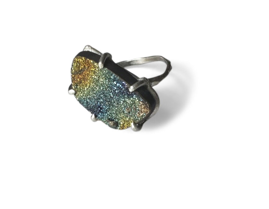 Rainbow Pyrite Ring