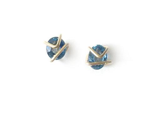 Sapphire Mini Geo Gem Studs
