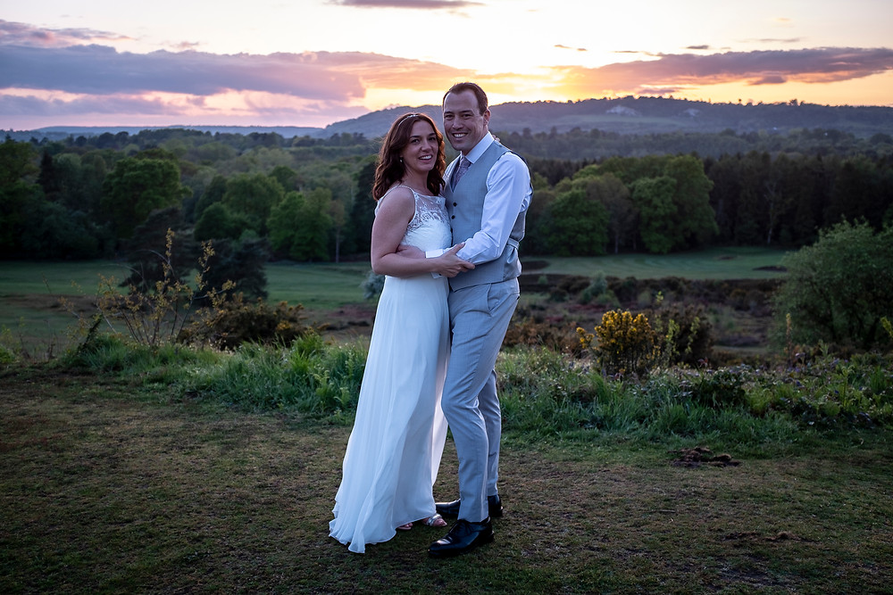 Newly weds at sunset, Reigate, Surrey