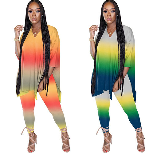 22020 Summer Autumn  Gradient Half Sleeves Long T Shirt Two Piece Sports Set