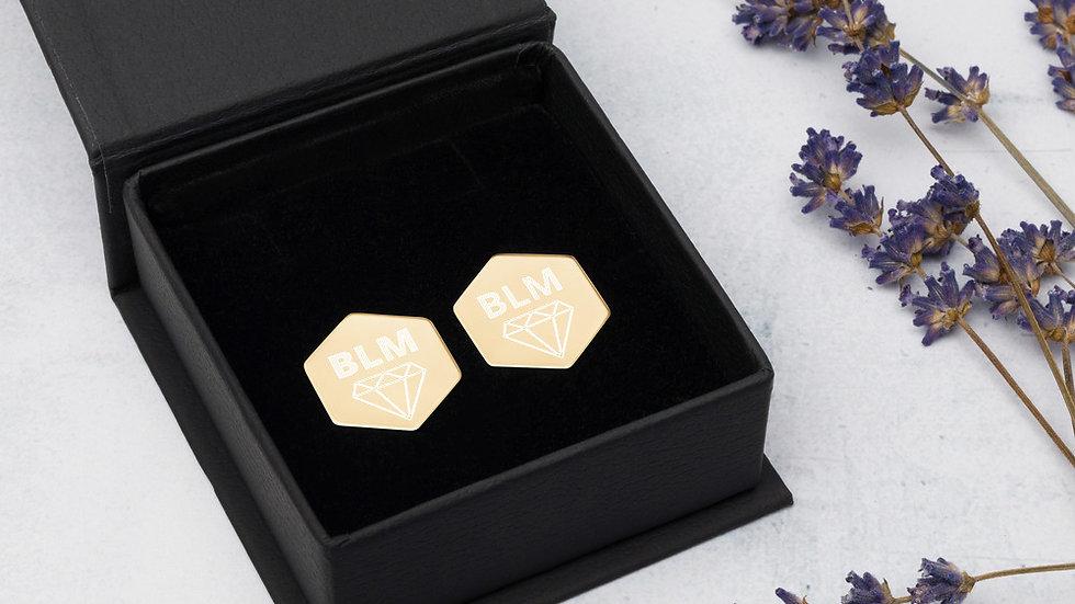 SLVerse Designed Sterling Silver Hexagon Stud Earrings