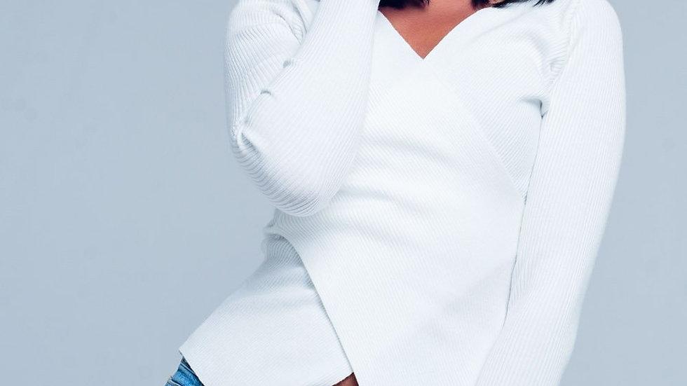 Cream Ribbed V-Neck Sweater