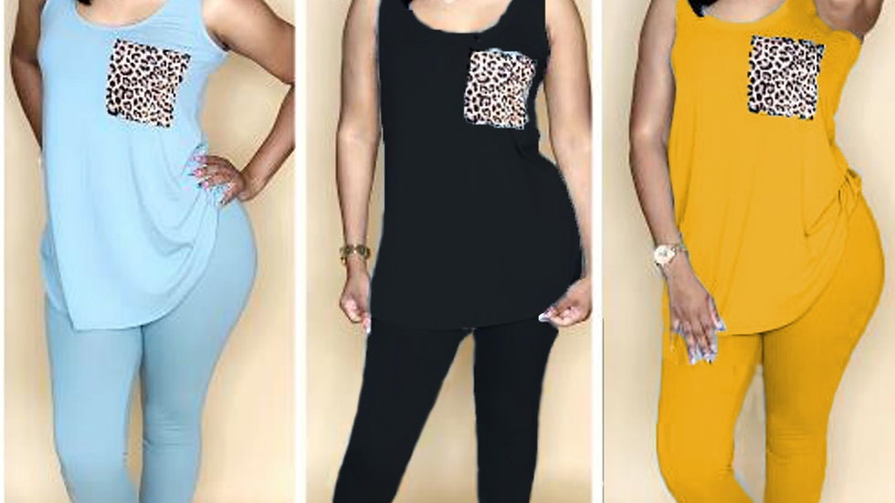 Sleeveless O-Neck Tops+Pants Suit Sporty Fitness Leopard