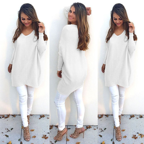 Autumn Plus Size S-Xxxl Oversized Thin White Sweater V-Neck Pullovers Female