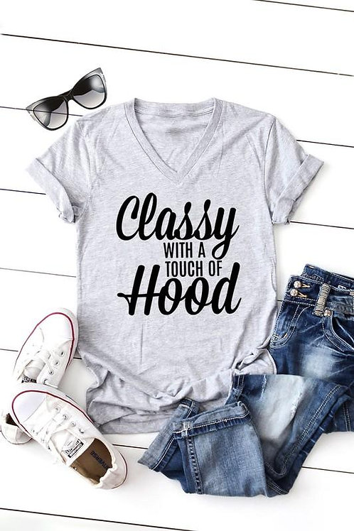 CLASSY Short Sleeve v Neck T-Shirt