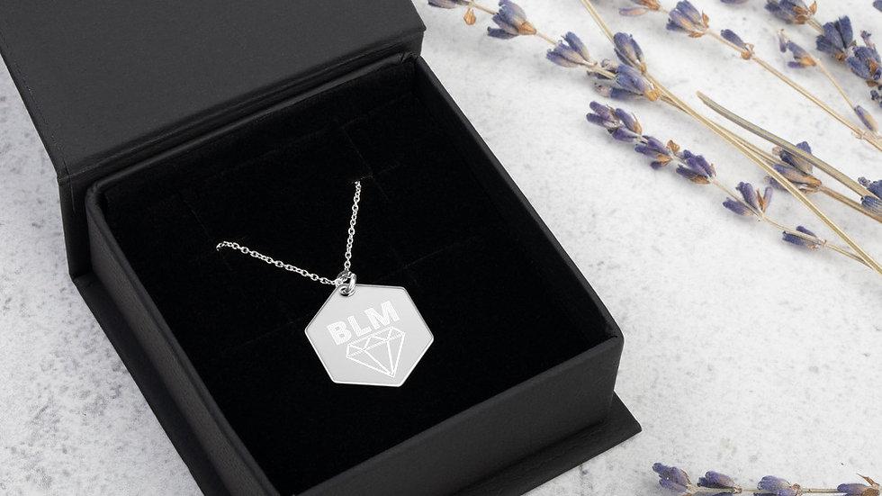 SLVerse Design Engraved Silver Hexagon Necklace