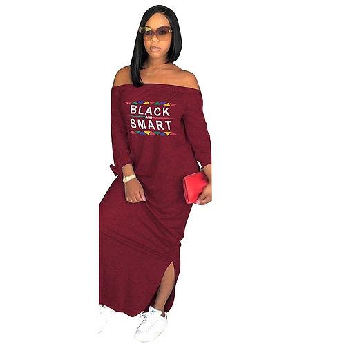 Africa CloLong Sleeve Long Dress Loose Letter Printing Plus Size S-Xxxl
