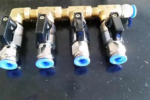 Manifold Gás Co2 4 Vias Divisor Engate Rápido Tipo Dmfit 3/8