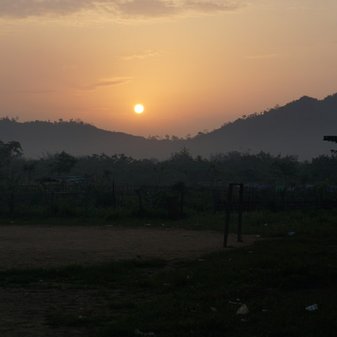 Refugee camp sunrise