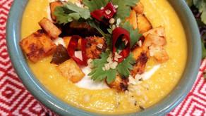 Creamy pumpkin soup with crispy tofu