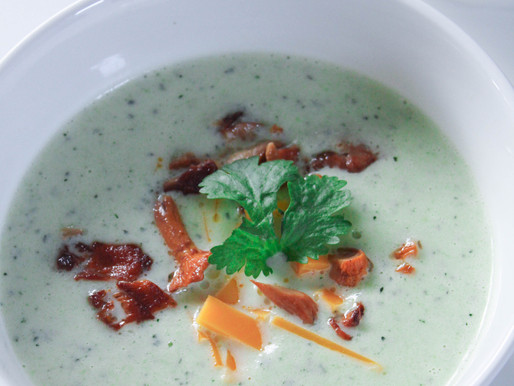 Creamy zucchini puree soup with chanterelles