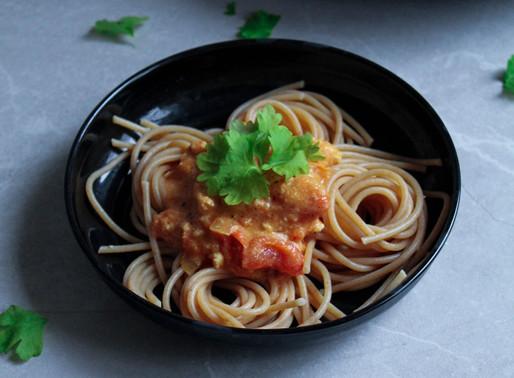 Tofu-tomato sauce with spaghetti