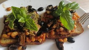 Delicious bean mushroom breakfast sandwich