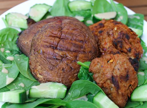 Grilled Portobello mushrooms with fresh salad