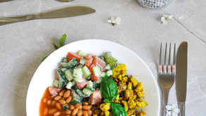 Tofu scramble with baked beans