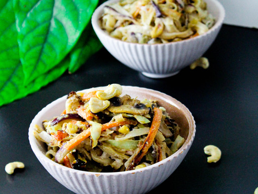 Creamy cashew-vegetable noodle dish