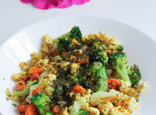 Algae tofu scramble with vegetables
