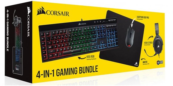 KIT CORSAIR 4-1 HS50 + K55 RGB + HARPOON RGB PRO + MM100