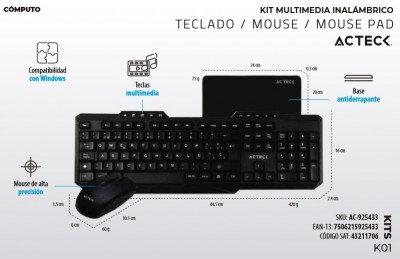 Kit de teclado y mouse inalámbrico + mousepad, teclado multimedia