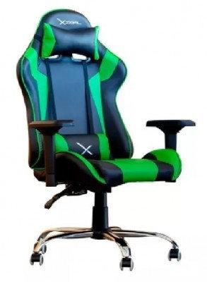 Silla para Gamer Stylos XZ10, Gamer, Asiento acolchado, Negro/Verde, PVC alto de