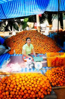 Orange vendor. Luang Prabang, Laos