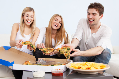 Unhealthy snack or dinner - chips and pizza
