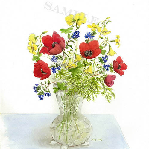 Poppies and Blue Flowers 2008